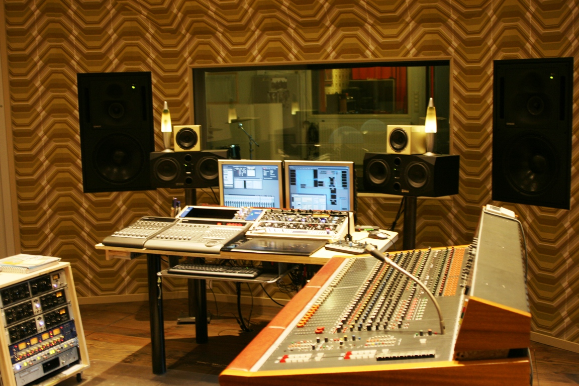 view on console and live room in recording studio pegg51